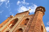 stock photo of mausoleum  - Main Gate of Taj Mahal mausoleum with entry portal perspective in Agra India - JPG