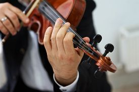 foto of classic art  - Men Violinist Playing Classical Violin Music in Musical Performance - JPG