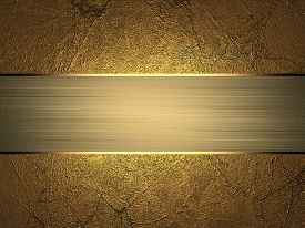 stock photo of ribbon decoration  - Grunge gold texture with gold divorce with gold ribbon - JPG