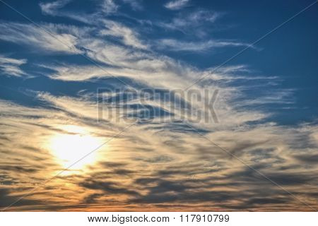 Sunset With Sun Rays, Sun Rocketing To The Sky, Clouds And Sky With Sun, Beautiful Blue Sky With Sun