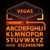 Vector orange neon lamp letters font show cinema and theater poster