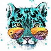 Постер, плакат: Leopard illustration watercolor Leopard Leopard T shirt graphics design illustration watercolor c