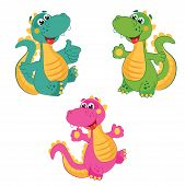 Funny Cartoon Dinosaur in Different Colors. Emerald Dinosaur. Green Dinosaur. Pink Dinosaur. poster