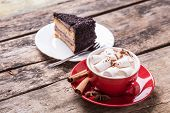 ������, ������: Hot Cocoa With Marshmallows And Slice Of Cake