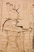 stock photo of horus  - Detail from the Temple of Horus in Edfu - JPG