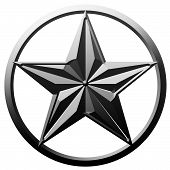 pic of iron star  - Star symbol in iron metal 3D effect on white isolate background - JPG