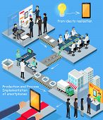 Smartphone Production Process Isometric Design poster