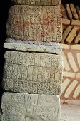 picture of sumerian  - This photograph represent natural stones with ancient Sumerian writing - JPG