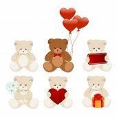 foto of teddy-bear  - Six little bears isolated on a white - JPG
