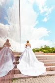beautiful cinderella bride on stairs poster