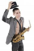 The Young Jazzman With Saxophone Takes Off A Hat