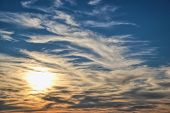 Sunset With Sun Rays, Sun Rocketing To The Sky, Clouds And Sky With Sun, Beautiful Blue Sky With Sun poster