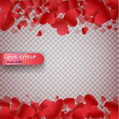 Heart Confetti Of Valentines Petals Falling On Transparent Background. Valentines Day Background Of poster