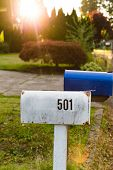 Mailboxes In Suburban Neighborhood poster