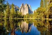 Middle Cathedral Rock reflecting in Merced River at Yosemite National Park. California, USA. poster