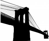 foto of bridge  - Silhouette of the Brooklyn bridge in New York - JPG