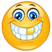 foto of smiley face  - Vector design of an emoticon with a golden tooth - JPG