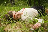 stock photo of crime scene  - Crime scene in a wood with dead secretary - JPG