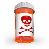 An orange prescription medicine bottle containing blue and red capsule pills and the skull and cross