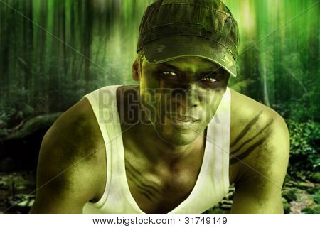 poster of Stylized fantasy portrait of a cool army hero guy with face paint and camo hat in dark mysterious ju