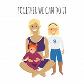 Vector Illustration Of Super Mom With Daughters In Flat Style. Motivational Banner With Adult Woman, poster