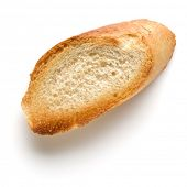 Toasted baguette slice isolated on white background close up.  Toast, crouton. Top view. poster