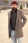 Lumbersexual Style. Hipster Outfit And Hat Accessory. Stylish Casual Outfit Spring Season. Menswear  poster