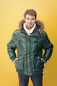 Improved Protection For Cold Season. Fashion Model Enjoying Warmth And Comfort. Handsome Man Wearing poster