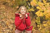 Child Wear Coat For Fall Season. Fall Clothes And Fashion Concept. Child Blonde Long Hair Walking Fa poster