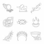 Isolated Object Of Mythology And God Sign. Set Of Mythology And Culture Stock Symbol For Web. poster