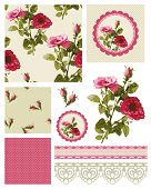 Classic Rose Vector Seamless Patterns and Icons.  Use to create fabulous textile designs or digital