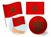 Morocco Flag Icon Set. National Flag Of Morocco  Illustration poster