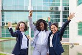 Happy Excited Businesswomen Rejoicing At Corporate Success. Team Of Women Wearing Office Suits, Maki poster