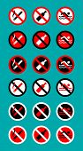 Set Of Prohibitory Signs Do Not Smoke, Do Not Drink, Do Not Swim On Turquoise Background poster