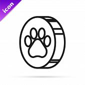 Black Line Paw Print Icon Isolated On White Background. Dog Or Cat Paw Print. Animal Track. Vector I poster