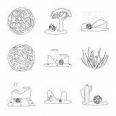Vector Illustration Of Wilderness And Texas Symbol. Collection Of Wilderness And Pasture Vector Icon poster