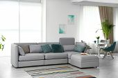 Modern Living Room Interior With Comfortable Sofa poster