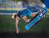 MELBOURNE, AUSTRALIA - MARCH 12: Sam Carne in the wakeboard event at the Moomba Masters on March 12,
