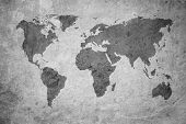 Highly Detailed Grunge Map Of The World poster