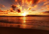 pic of sunset beach  - Beautiful tropical sunset on the beach - JPG