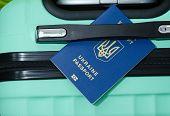 Passengers Passport, Baggage At The International Airport With The Ukrainian Passport. poster