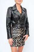 Womens Leather Jacket With Long Sleeves, Black, With Iron Inserts On Shoulders And Iron Lock. poster