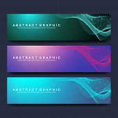Abstract Vector Banners Templates For Web Site. Scientific Background Genetic Engineering And Gene M poster