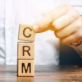 Wooden Blocks With The Word Crm (customer Relationship Management) And Businessman. Automation Strat poster