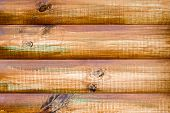 Wall Of A Log House. Log-house. Wall Of Painted Logs. Wood Background. The Logs Are Painted With Col poster