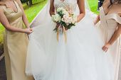 Beautiful Wedding Bouquet In The Hands Of The Bride With Roses. Wedding Day. Bokeh. Bride. Brides Bo poster