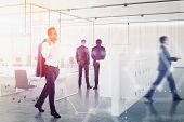 Diverse Business People Working Together In Modern Office With Double Exposure Of Hi Tech Interface. poster
