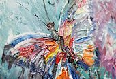 foto of acrylic painting  - closeup fragment of oil painting butterfly image - JPG