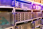 Panel modern servers in the data center vertical poster
