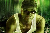 Stylized fantasy portrait of a cool army hero guy with face paint and camo hat in dark mysterious ju poster